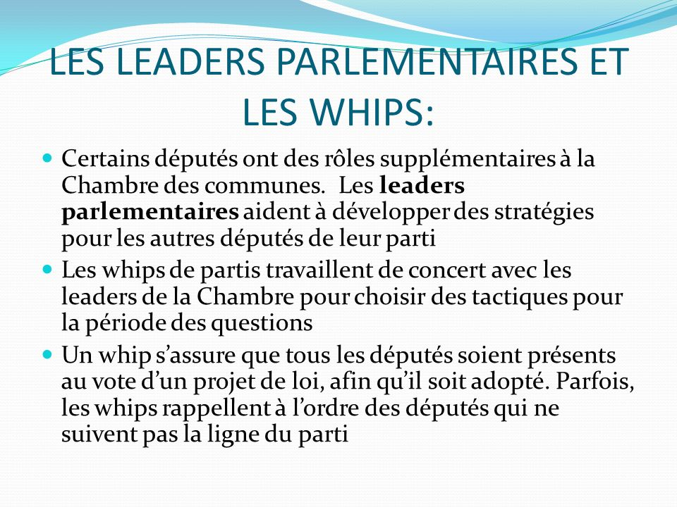 LES LEADERS PARLEMENTAIRES ET LES WHIPS: