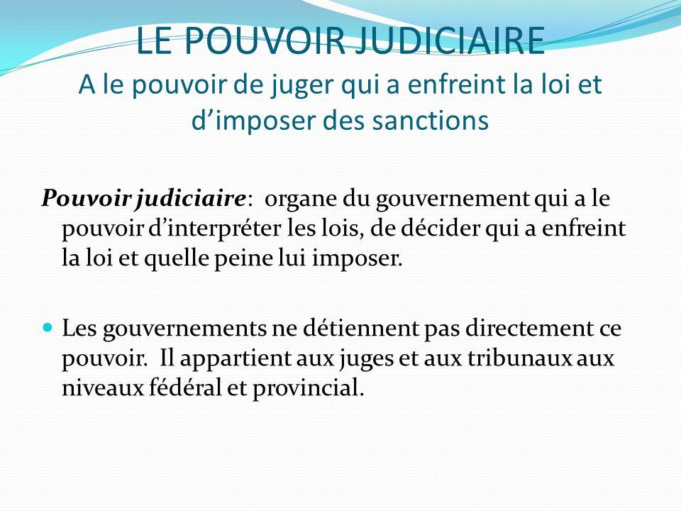 LE POUVOIR JUDICIAIRE A le pouvoir de juger qui a enfreint la loi et d'imposer des sanctions