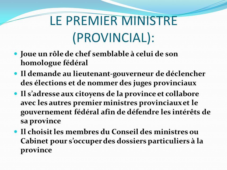 LE PREMIER MINISTRE (PROVINCIAL):