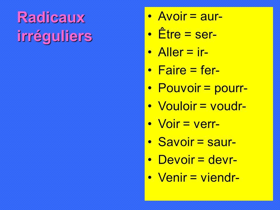 Radicaux irréguliers Avoir = aur- Être = ser- Aller = ir- Faire = fer-