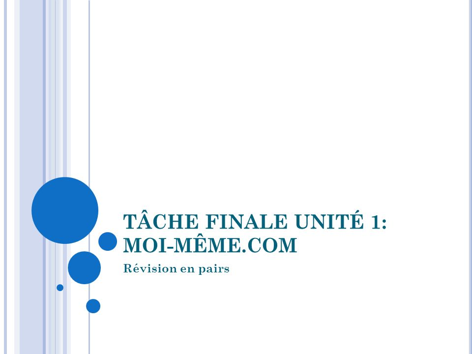 TÂCHE FINALE UNITÉ 1: MOI-MÊME.COM