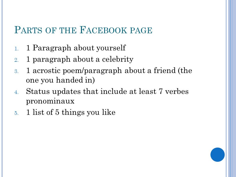 Parts of the Facebook page