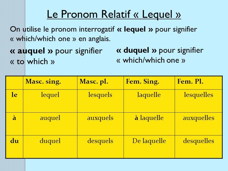 Le Pronom Relatif « Lequel »