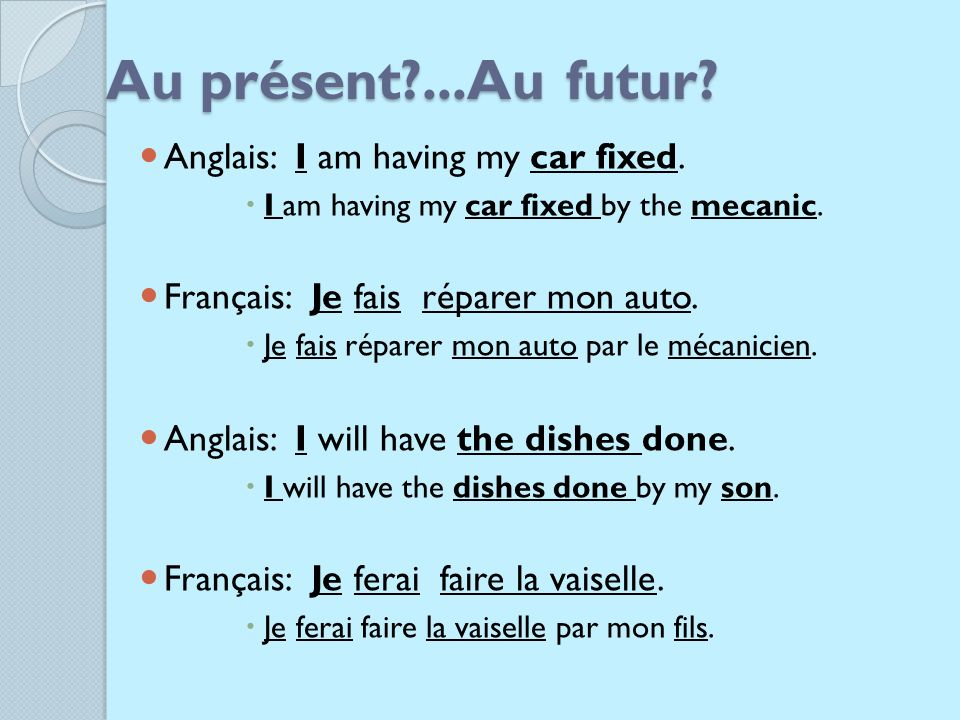 Au présent ...Au futur Anglais: I am having my car fixed.