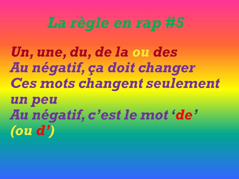 La règle en rap #5 Un, une, du, de la ou des