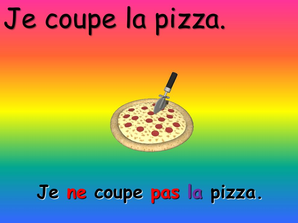 Je coupe la pizza. Je ne coupe pas la pizza.