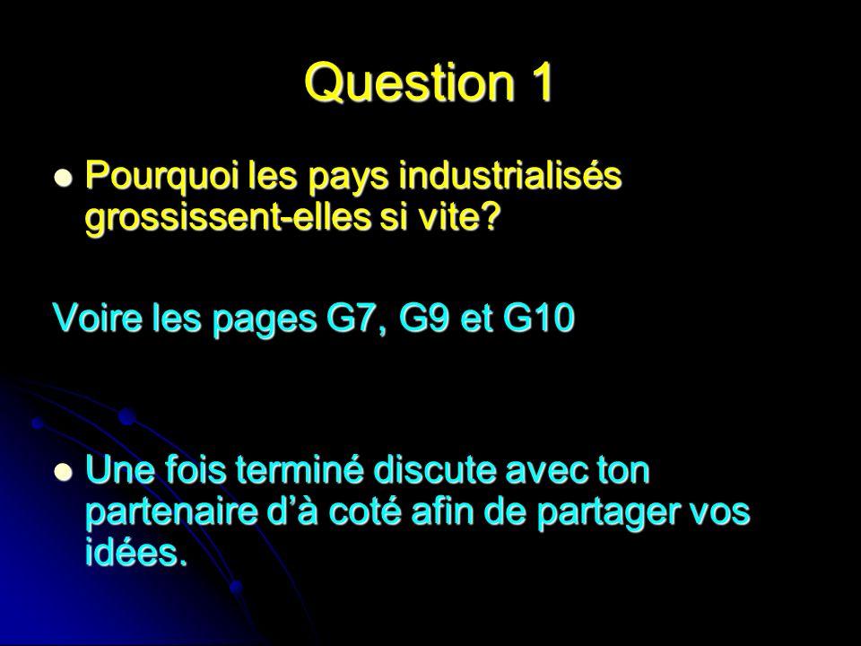 Question 1 Pourquoi les pays industrialisés grossissent-elles si vite