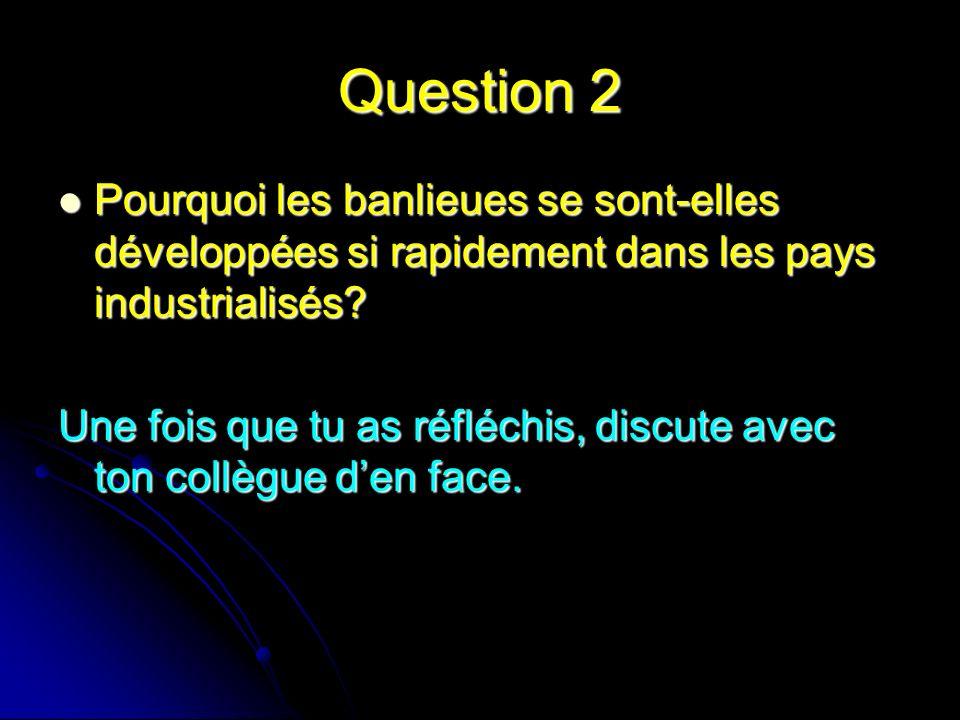 Question 2 Pourquoi les banlieues se sont-elles développées si rapidement dans les pays industrialisés