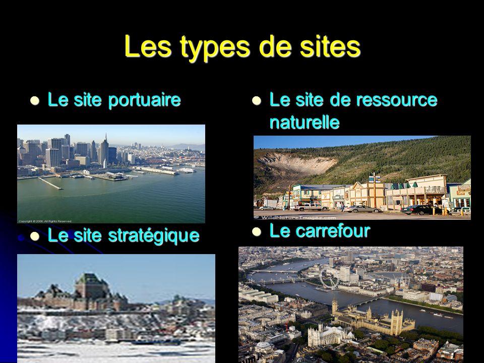 Les types de sites Le site portuaire Le site stratégique