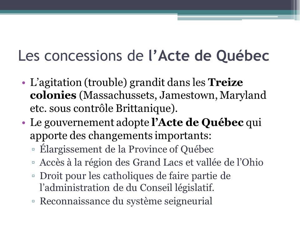 Les concessions de l'Acte de Québec