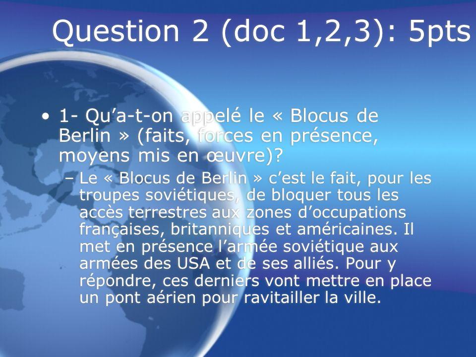 Question 2 (doc 1,2,3): 5pts 1- Qu'a-t-on appelé le « Blocus de Berlin » (faits, forces en présence, moyens mis en œuvre)
