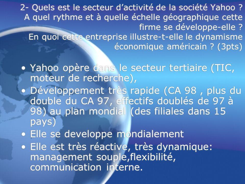 Yahoo opère dans le secteur tertiaire (TIC, moteur de recherche),