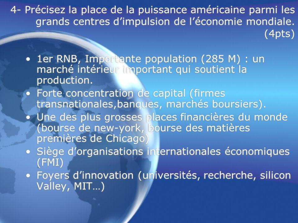 4- Précisez la place de la puissance américaine parmi les grands centres d'impulsion de l'économie mondiale. (4pts)