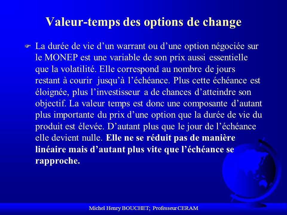 Valeur-temps des options de change