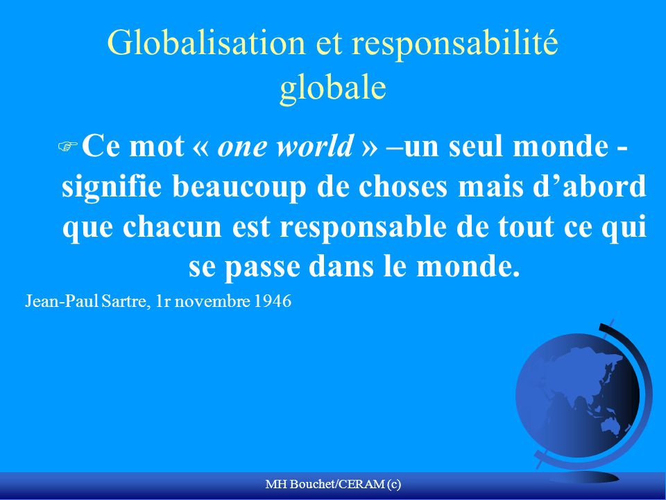 Globalisation et responsabilité globale