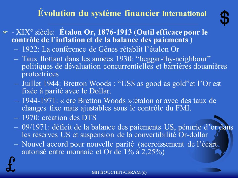Évolution du système financier International