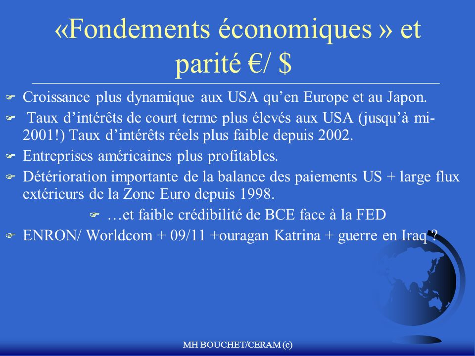 «Fondements économiques » et parité €/ $