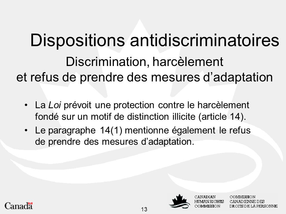 Dispositions antidiscriminatoires
