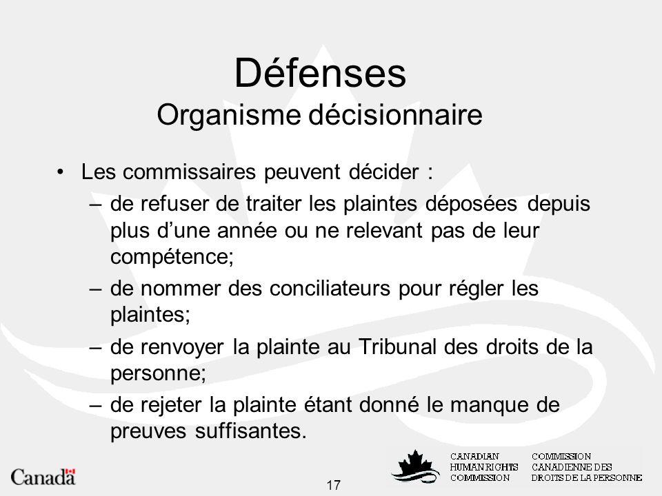 Défenses Organisme décisionnaire