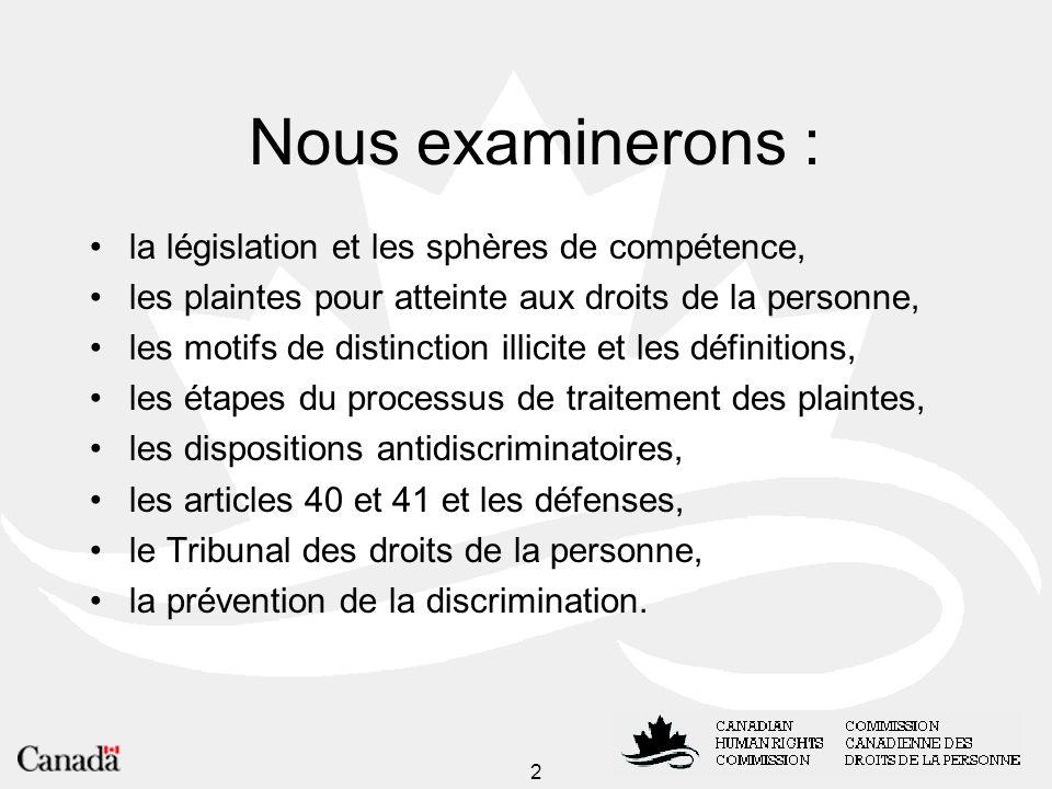 Nous examinerons : la législation et les sphères de compétence,