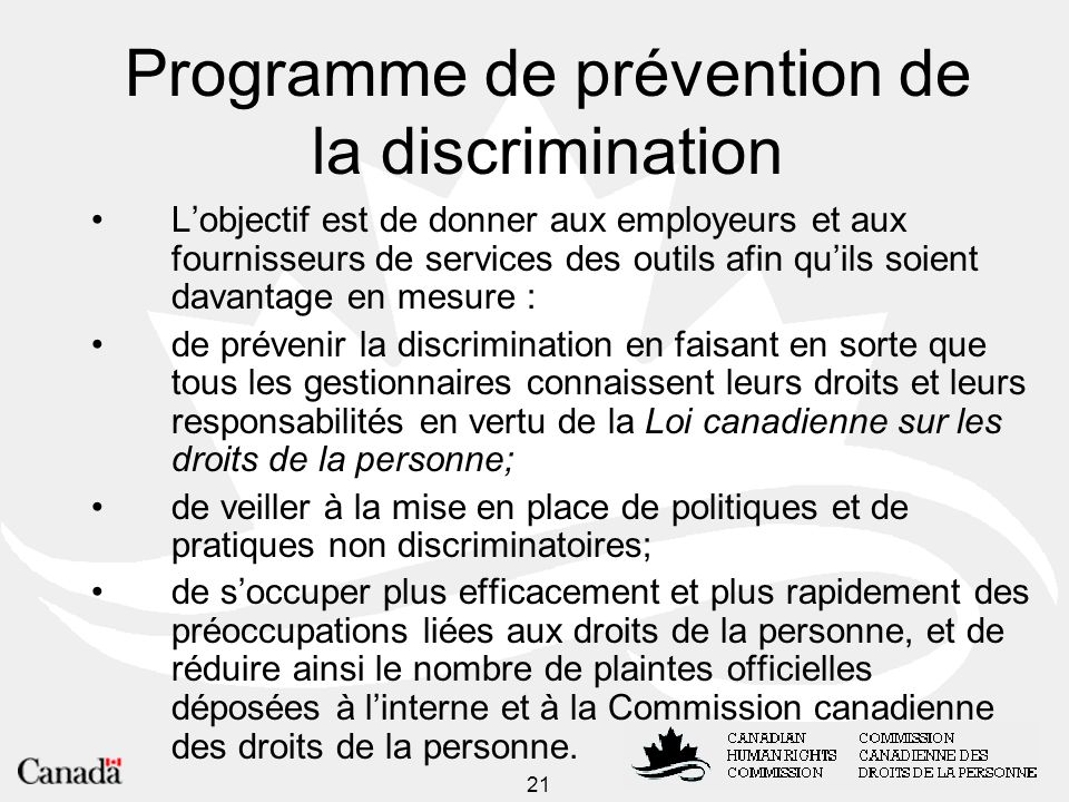 Programme de prévention de la discrimination