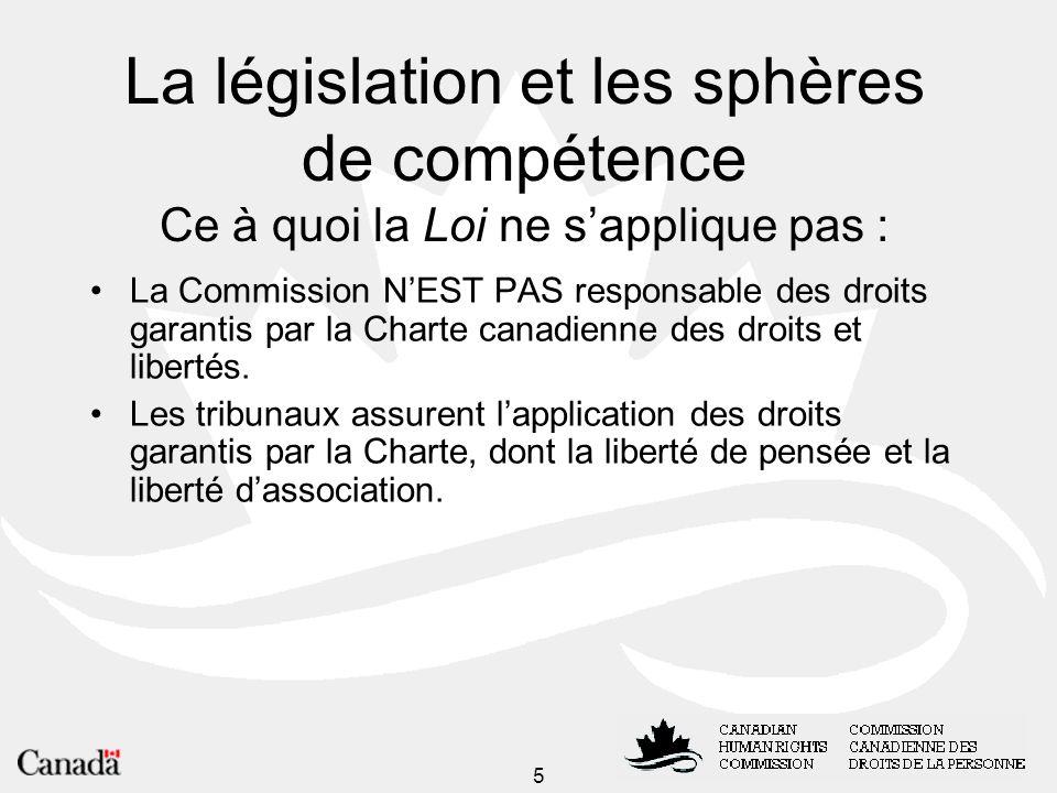 La législation et les sphères de compétence Ce à quoi la Loi ne s'applique pas :