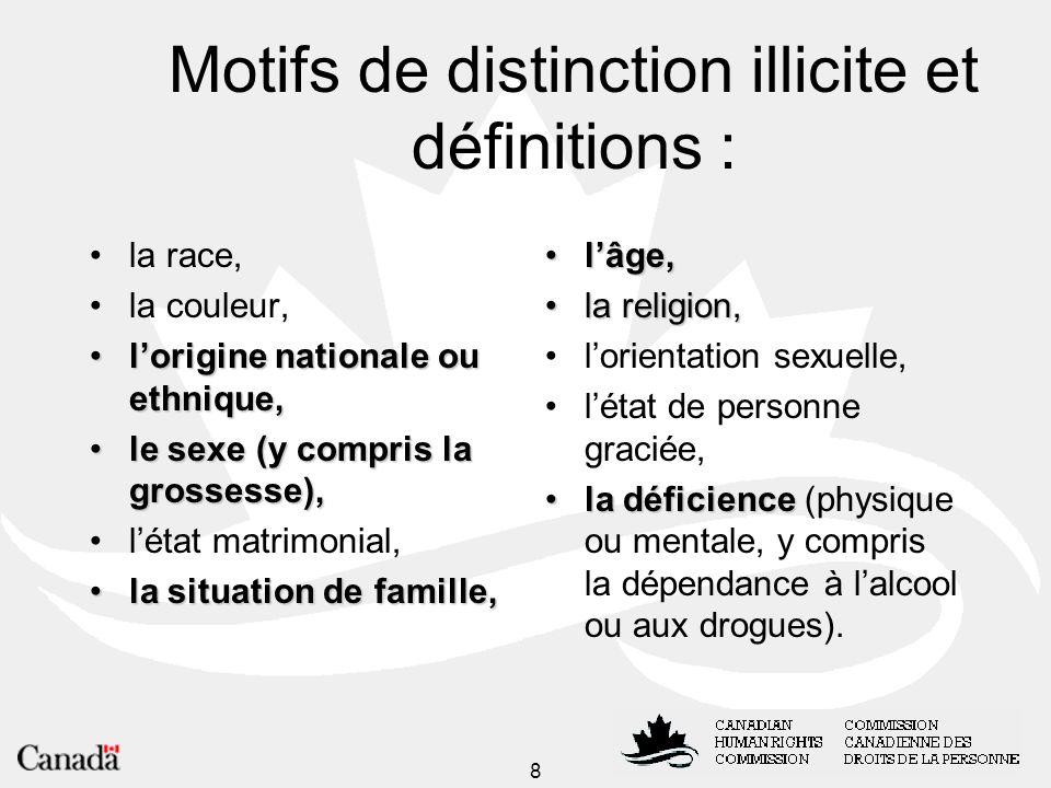 Motifs de distinction illicite et définitions :