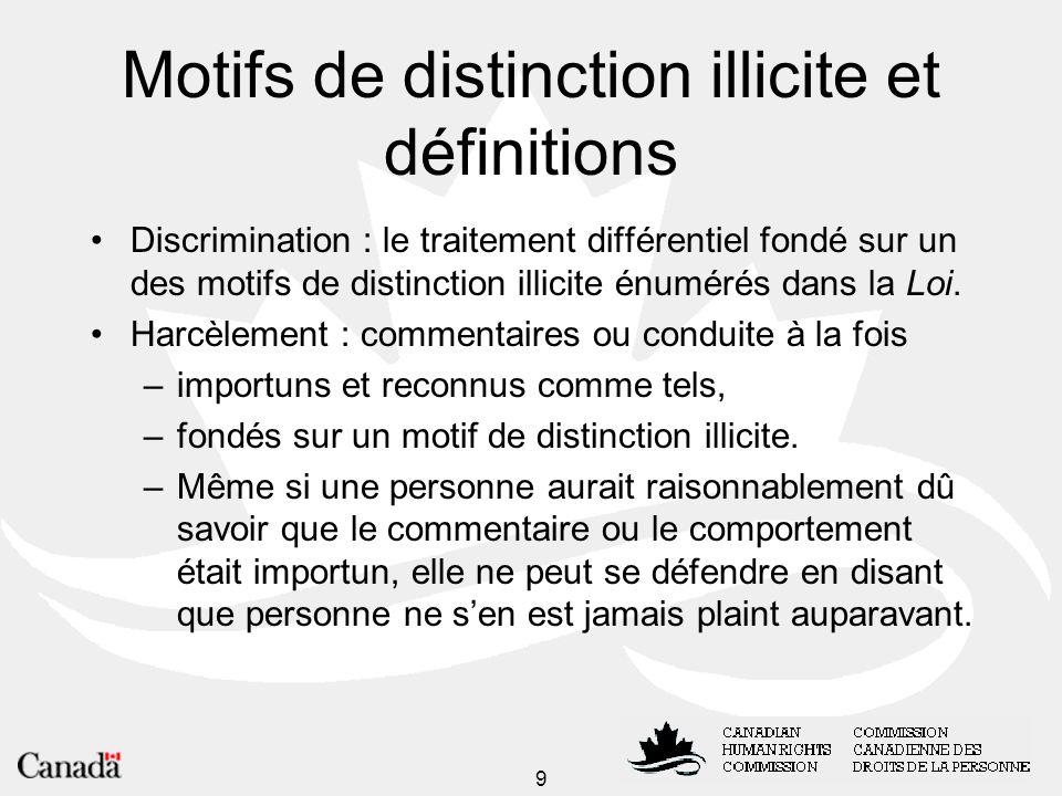 Motifs de distinction illicite et définitions