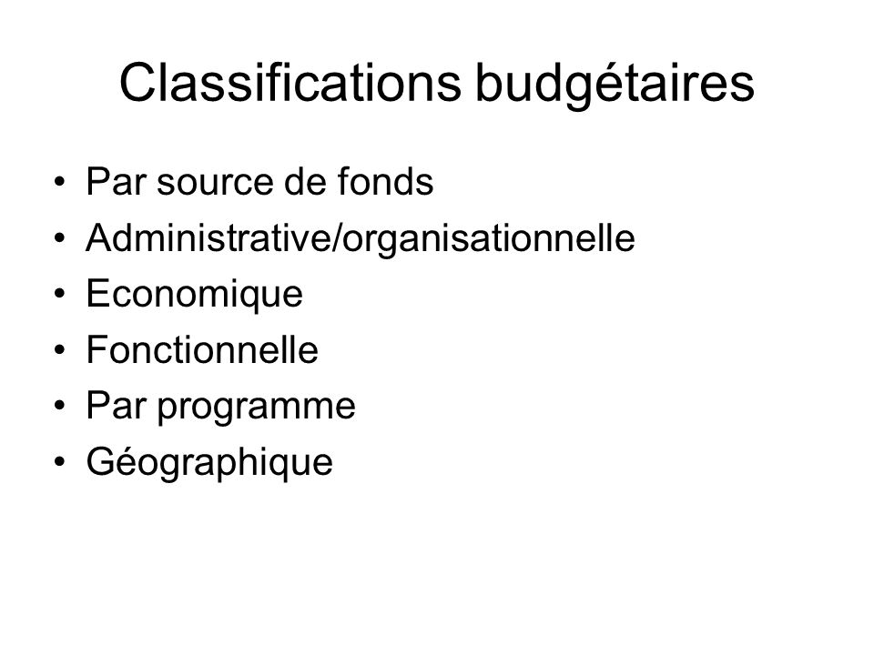 Classifications budgétaires