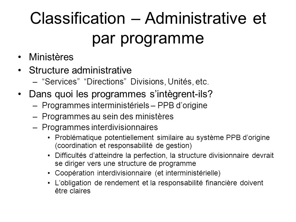 Classification – Administrative et par programme