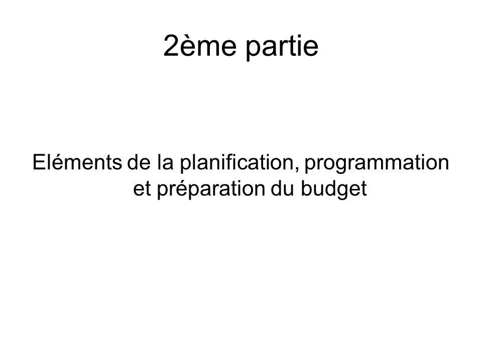 Eléments de la planification, programmation et préparation du budget