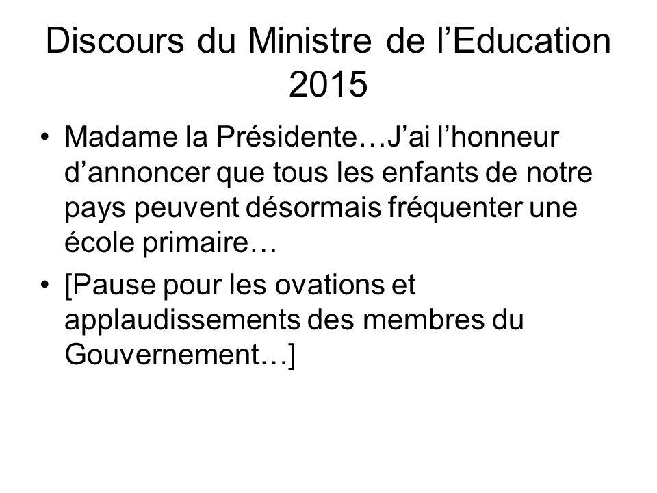 Discours du Ministre de l'Education 2015