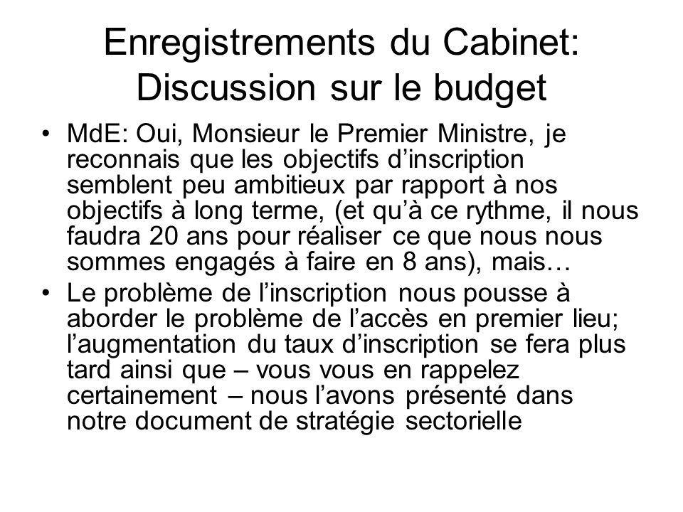 Enregistrements du Cabinet: Discussion sur le budget