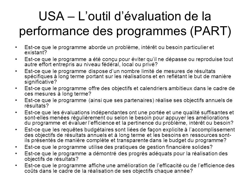 USA – L'outil d'évaluation de la performance des programmes (PART)