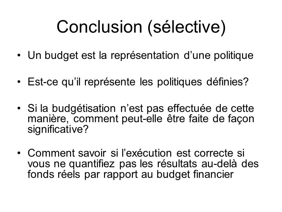Conclusion (sélective)