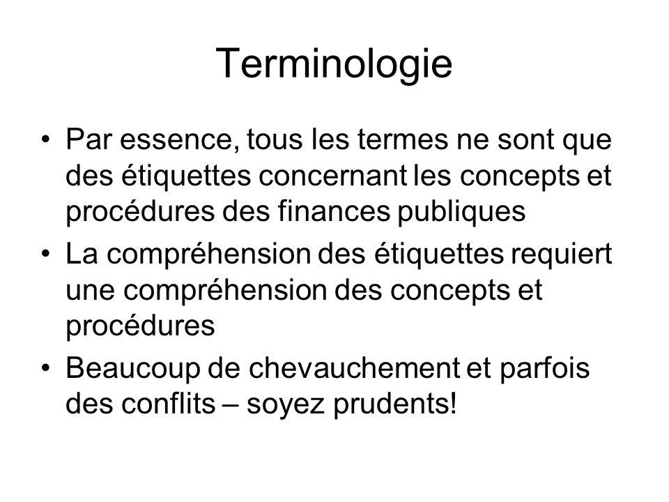 Terminologie Par essence, tous les termes ne sont que des étiquettes concernant les concepts et procédures des finances publiques.