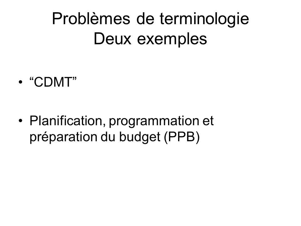 Problèmes de terminologie Deux exemples