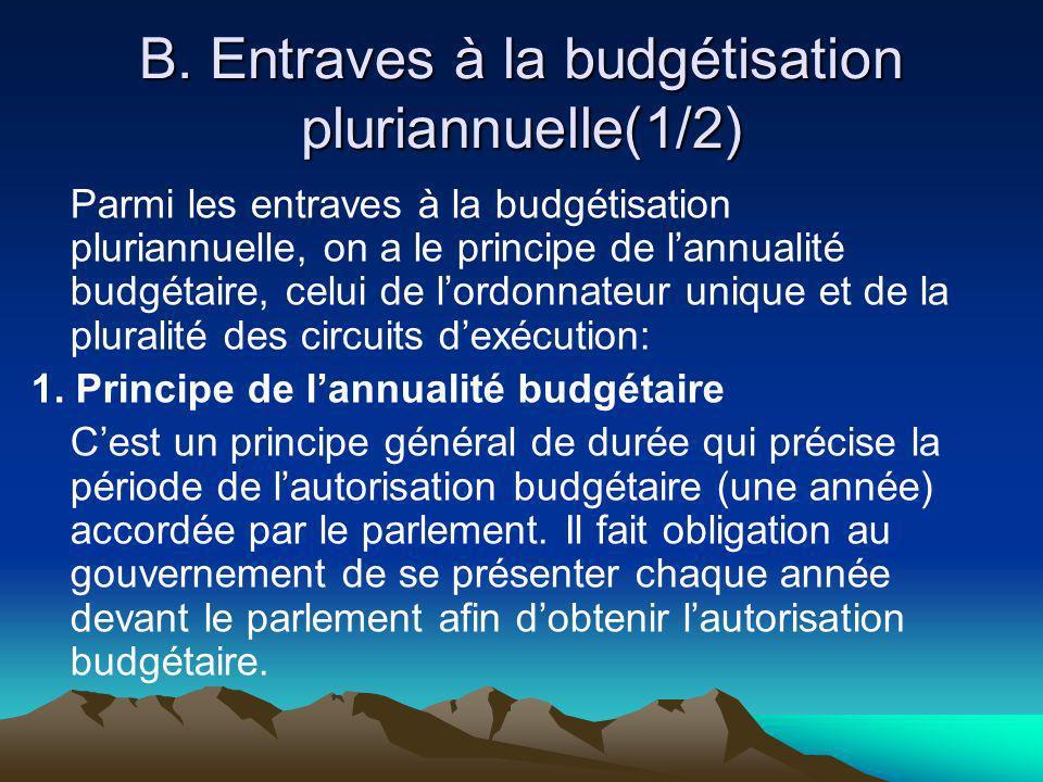 B. Entraves à la budgétisation pluriannuelle(1/2)