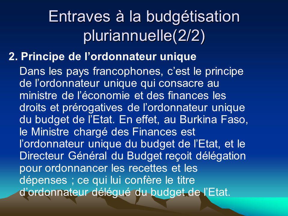Entraves à la budgétisation pluriannuelle(2/2)