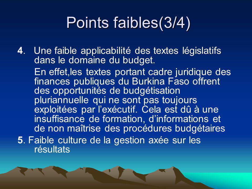 Points faibles(3/4) 4. Une faible applicabilité des textes législatifs dans le domaine du budget.