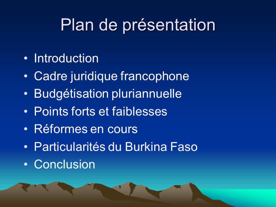 Plan de présentation Introduction Cadre juridique francophone