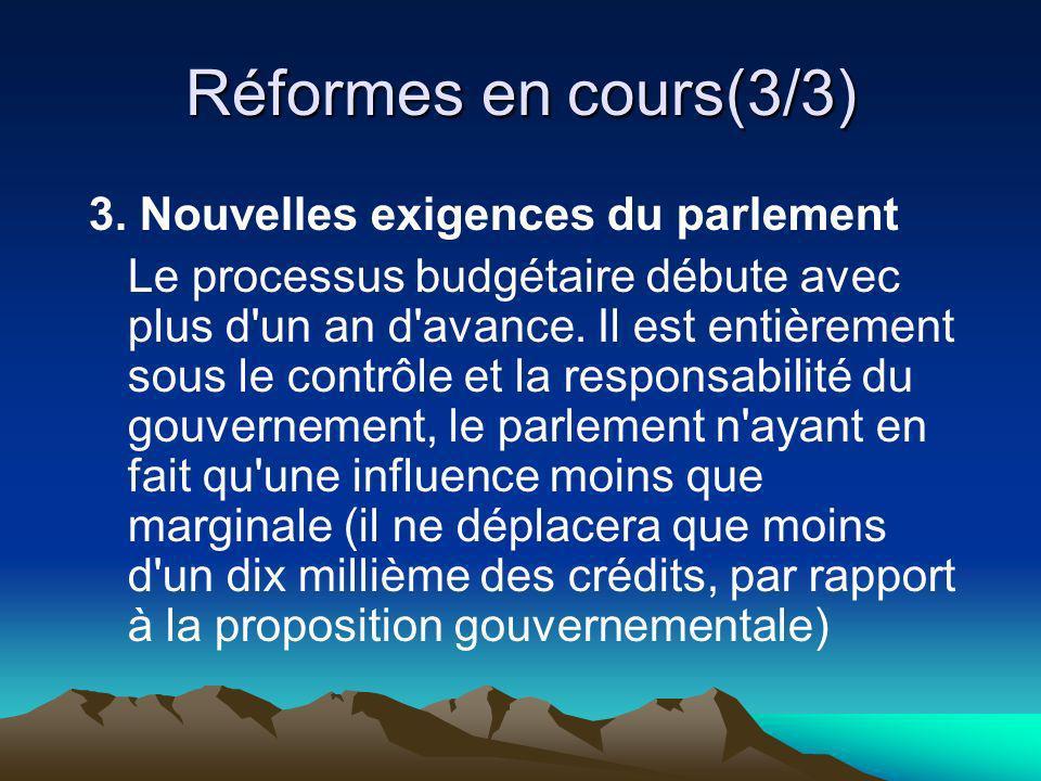 Réformes en cours(3/3) 3. Nouvelles exigences du parlement