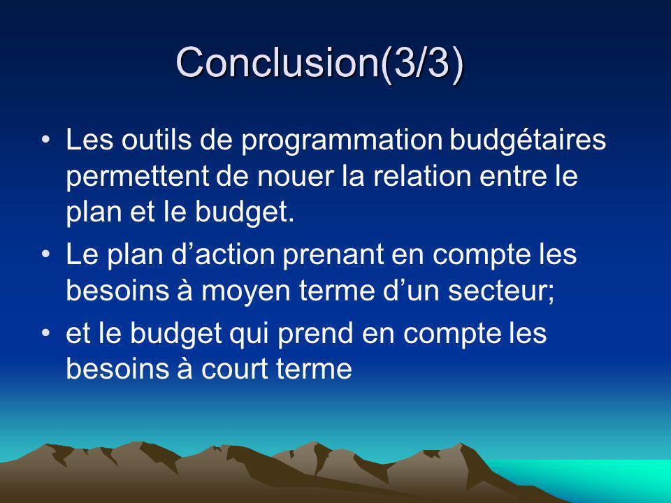 Conclusion(3/3)Les outils de programmation budgétaires permettent de nouer la relation entre le plan et le budget.