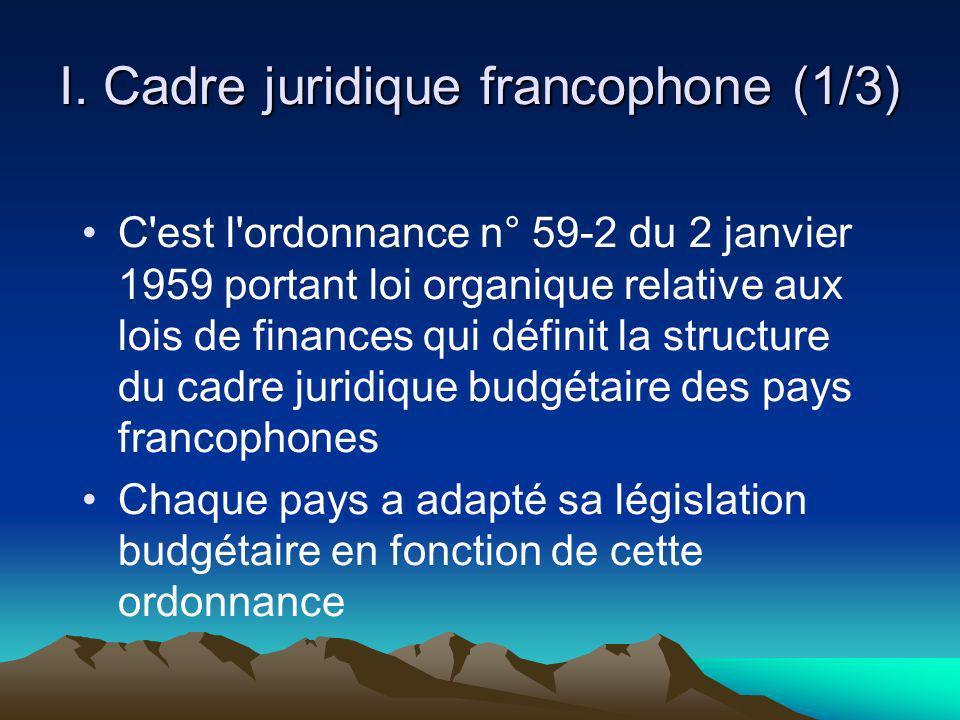 I. Cadre juridique francophone (1/3)