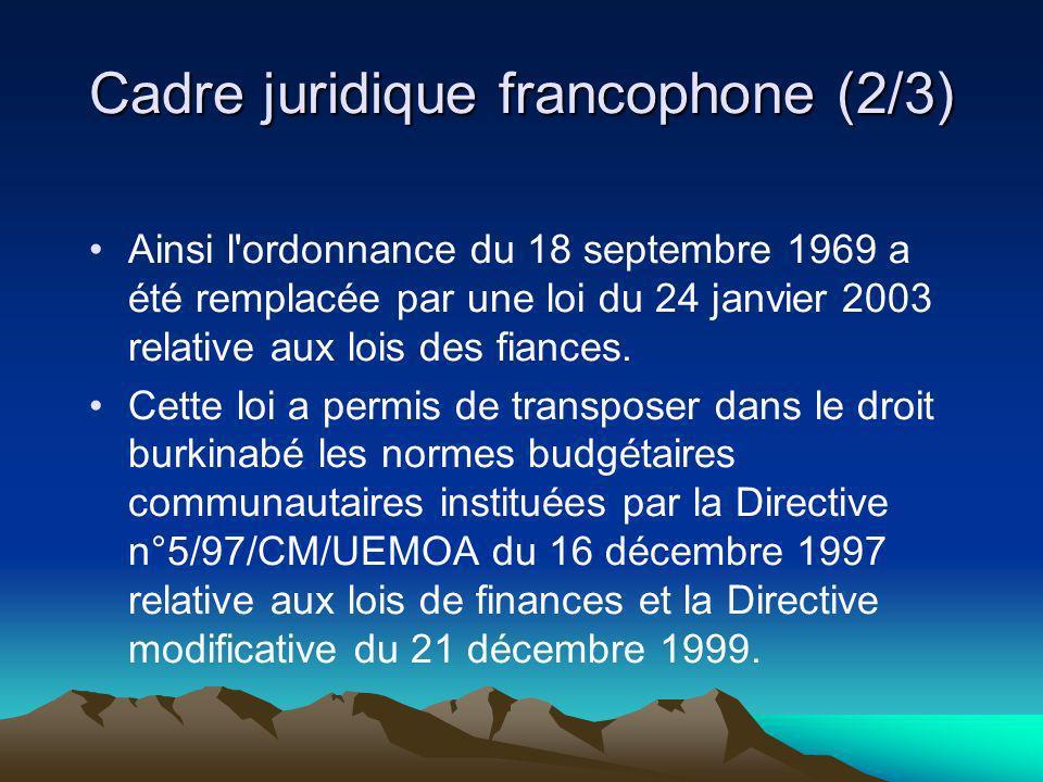 Cadre juridique francophone (2/3)