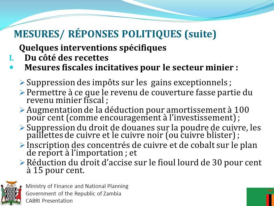 MESURES/ RÉPONSES POLITIQUES (suite)