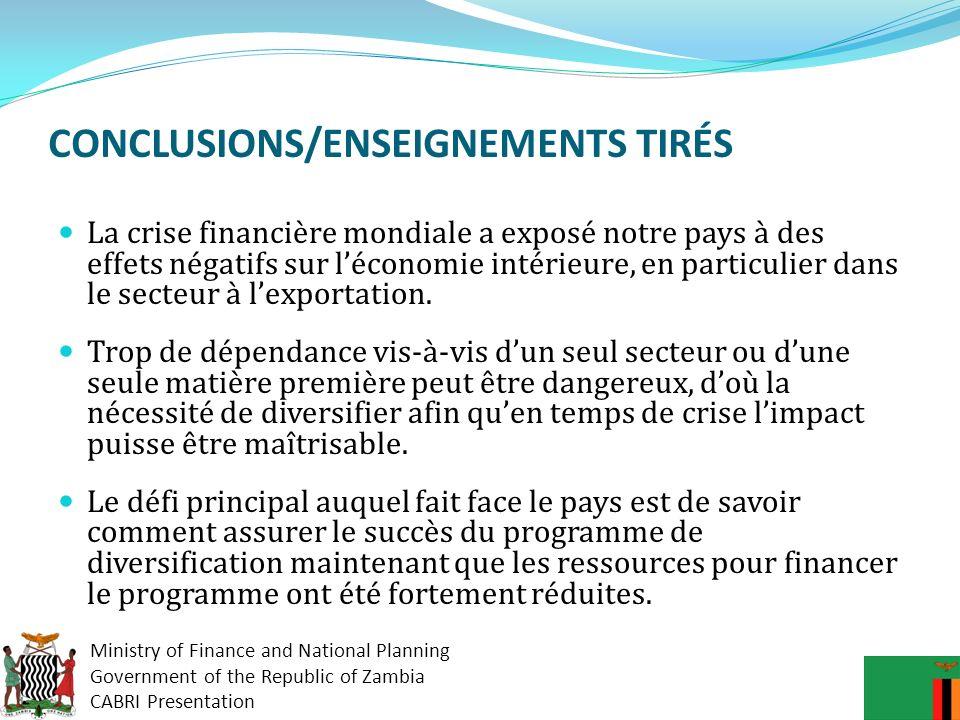 CONCLUSIONS/ENSEIGNEMENTS TIRÉS