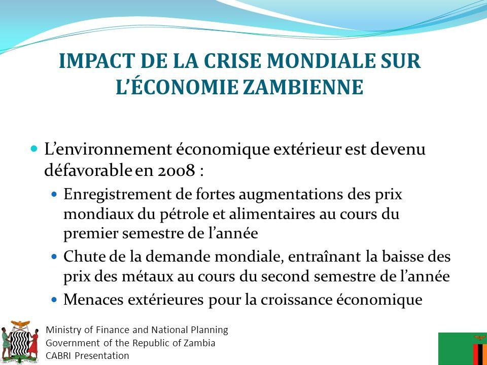 IMPACT DE LA CRISE MONDIALE SUR L'ÉCONOMIE ZAMBIENNE