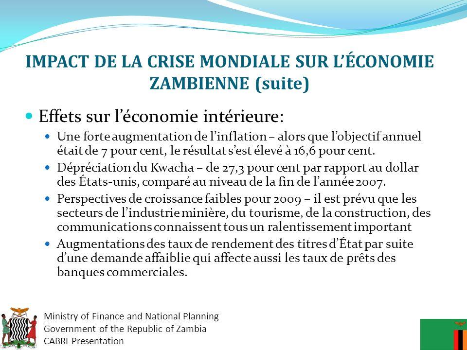 IMPACT DE LA CRISE MONDIALE SUR L'ÉCONOMIE ZAMBIENNE (suite)