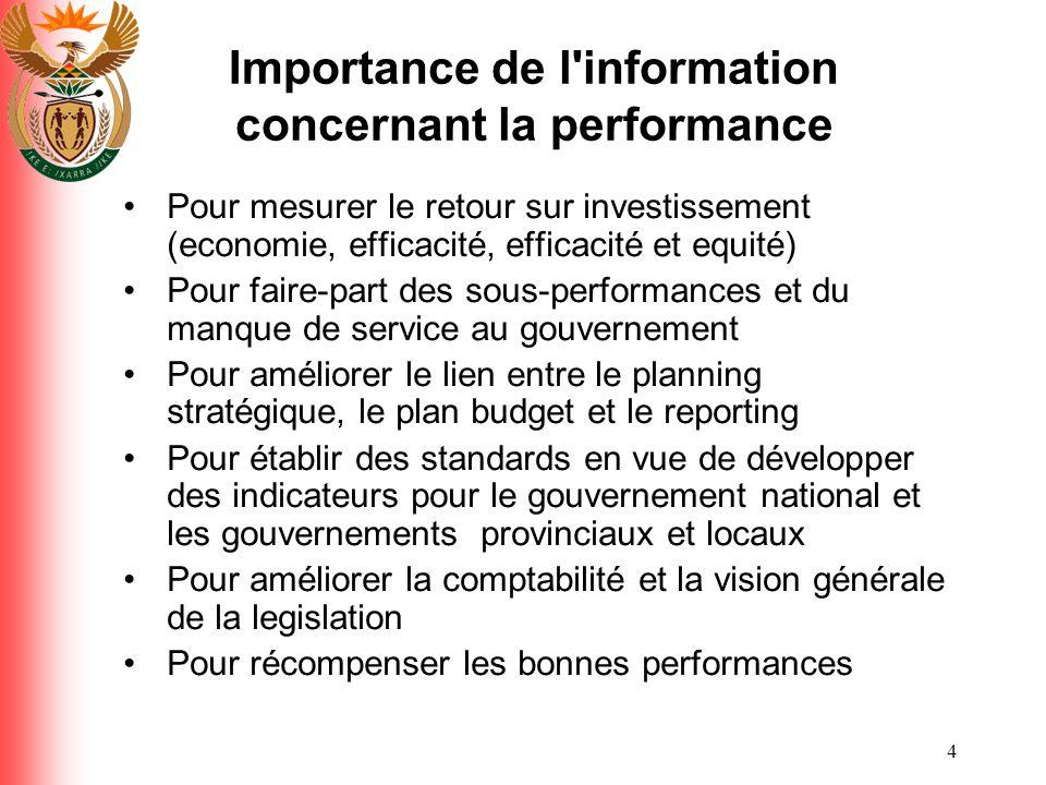 Importance de l information concernant la performance